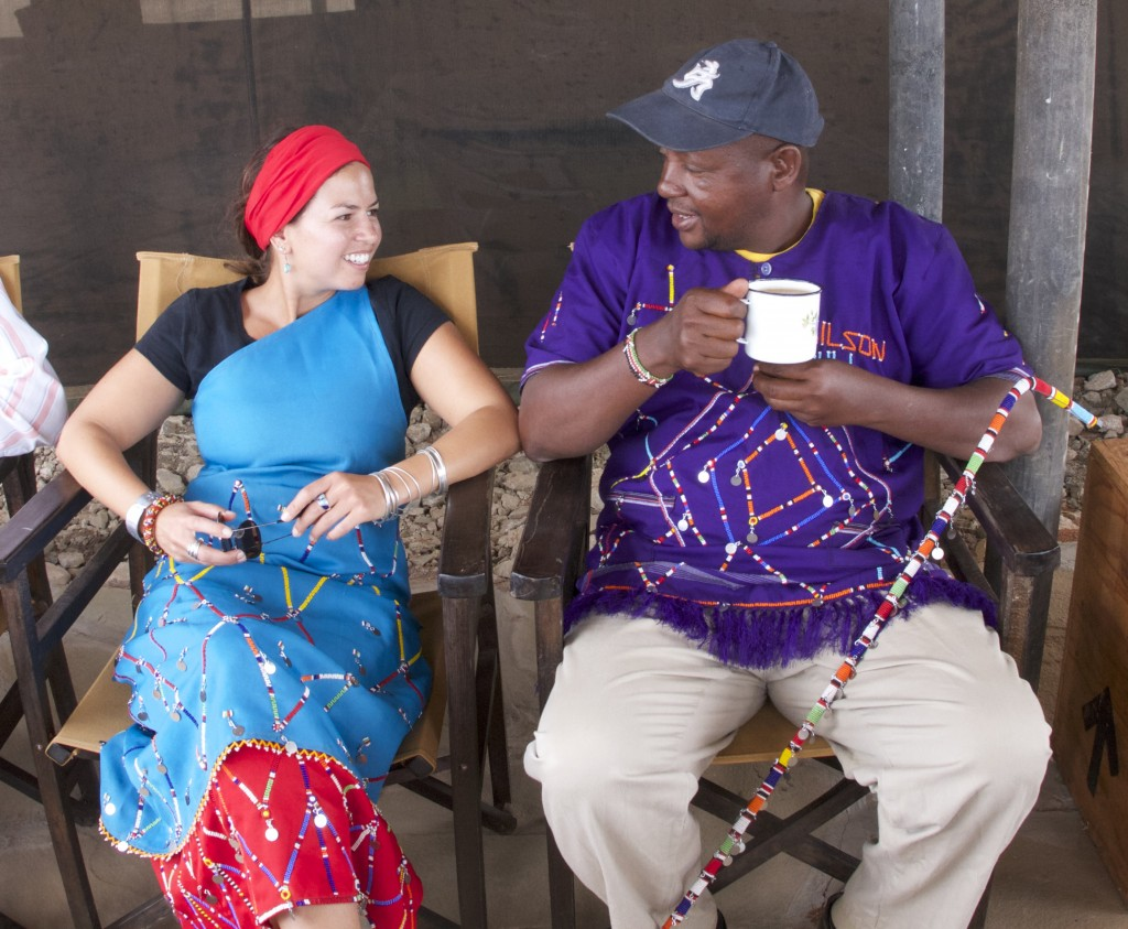 Leela and Wilson Muli (Chief of Olgolului Group Ranch) chatting over chai